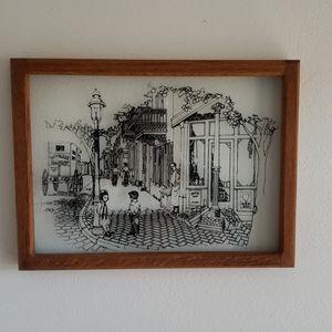 Vintage Stencil Glass Framed Picture